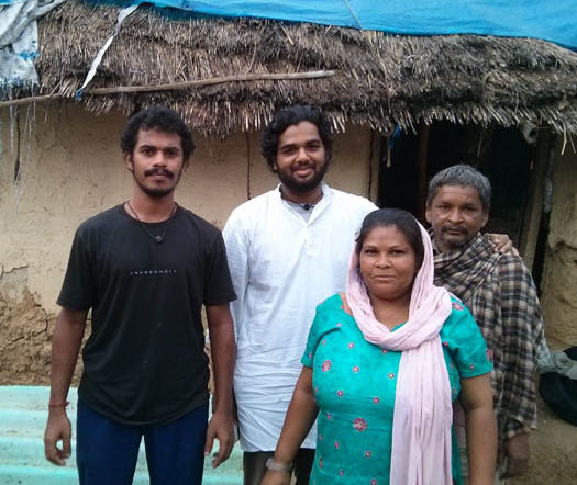 Ayappan (l) and Sreeram (r) with family from participating in the WE Sanitation Outreach in Himachal.