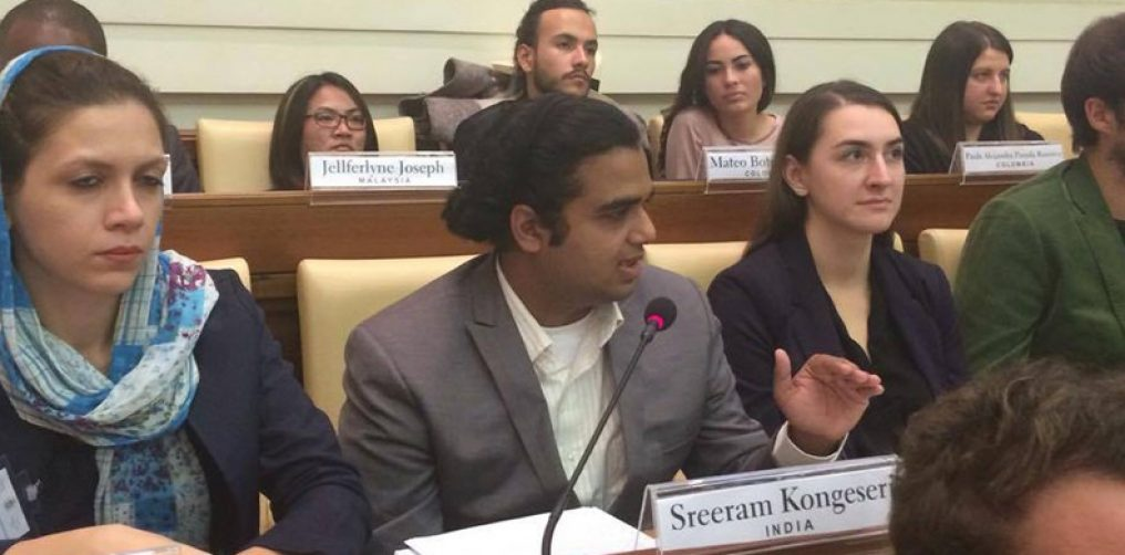 Sreeram K at the Vatican Youth Summit speaking